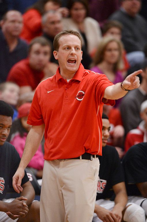 . AURORA, CO. - MARCH 5, 2014: Rangeview coach Shawn Palmer offered advice from the sidelines in the first half. The Rangeview High School boy\'s basketball team hosted Chaparral Wednesday night, March 5, 2014. Photo By Karl Gehring/The Denver Post