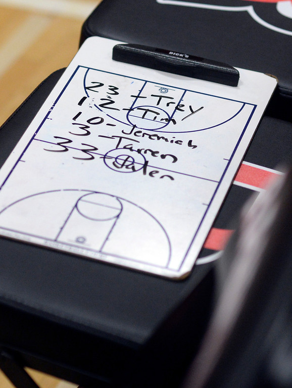 . AURORA, CO. - MARCH 5, 2014: Defensive matchups were outlined on a clipboard before the game. The Rangeview High School boy\'s basketball team hosted Chaparral Wednesday night, March 5, 2014. Photo By Karl Gehring/The Denver Post