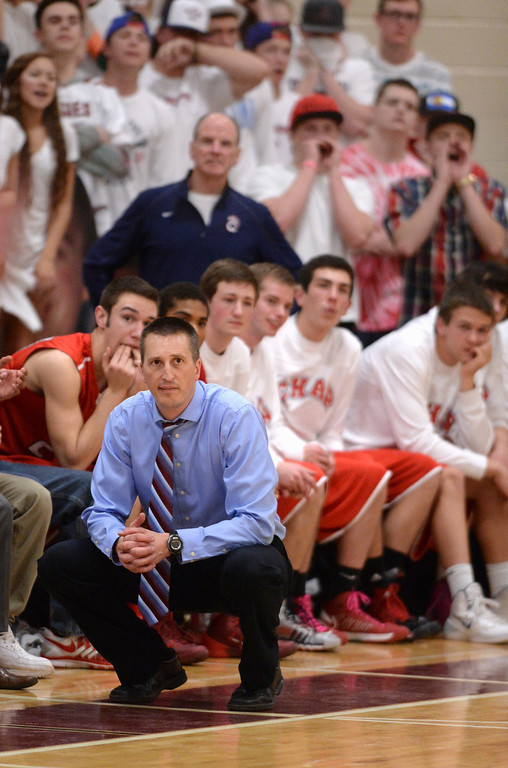 . AURORA, CO. - MARCH 5, 2014: Chaparral coach Rob Johnson and the Wolverine bench watched as Rangeview hung onto a small lead at the end of the second overtime period. The Rangeview High School boy\'s basketball team defeated Chaparral 88-85 in the second overtime period Wednesday night, March 5, 2014. Photo By Karl Gehring/The Denver Post