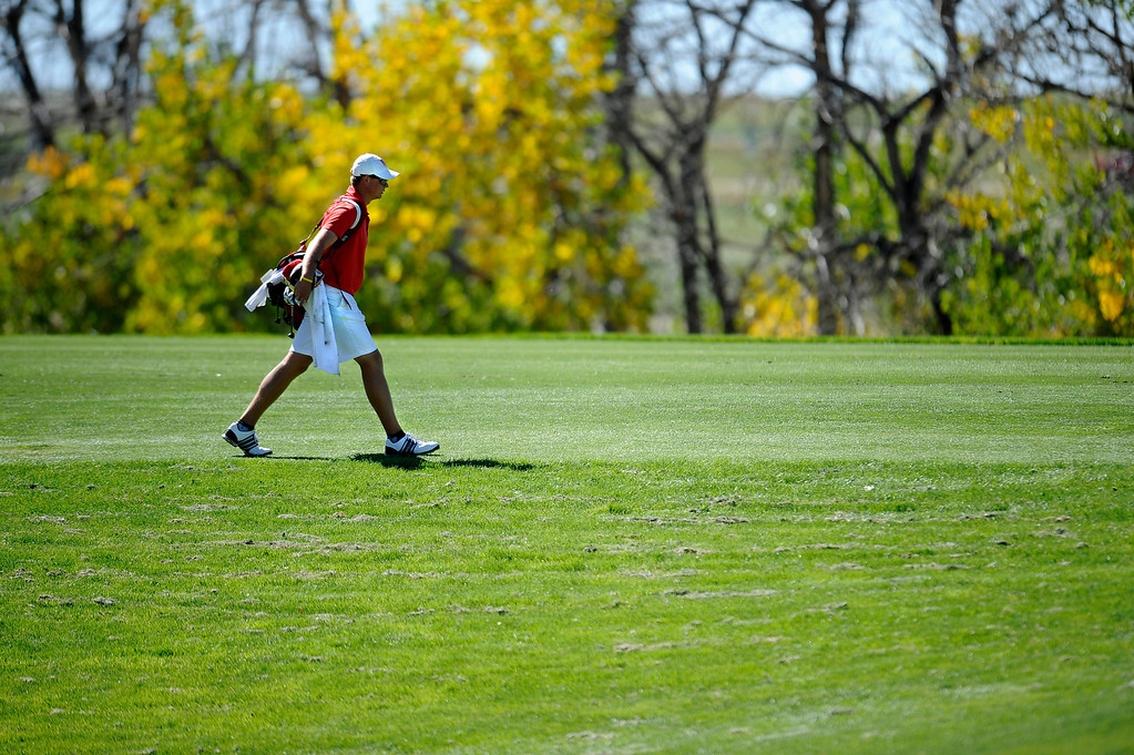 . AURORA, CO: Oct. 1, 2013  Spencer Painton, who was six under par on the first day of the tournament, was the 5A champion in today\'s final round of the 5A state golf tournament at Murphy Creek Golf Course.  (Photo By Erin Hull/The Denver Post)