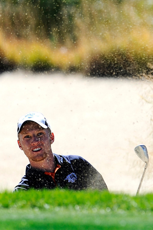 . AURORA, CO: Oct. 1, 2013  Keegan Sheard hits his ball out of a sand trap.  (Photo By Erin Hull/The Denver Post)