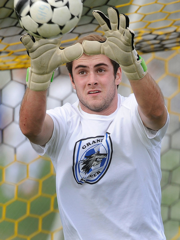 . Grandview goalkeeper AJ Wetherbie warmed up before the game Thursday. The Grandview High School boy\'s soccer team defeated Arapahoe 2-0 Thursday evening, September 19, 2013.  Photo By Karl Gehring/The Denver Post