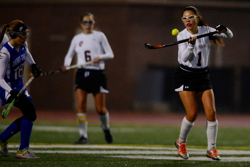 . Colorado Academy\'s Jillian Christensen controls the ball against Cherry Creek during the CHSAA state field hockey championship. Colorado Academy (17-0) capped a perfect season at All-City Stadium. (Photo by AAron Ontiveroz/The Denver Post)