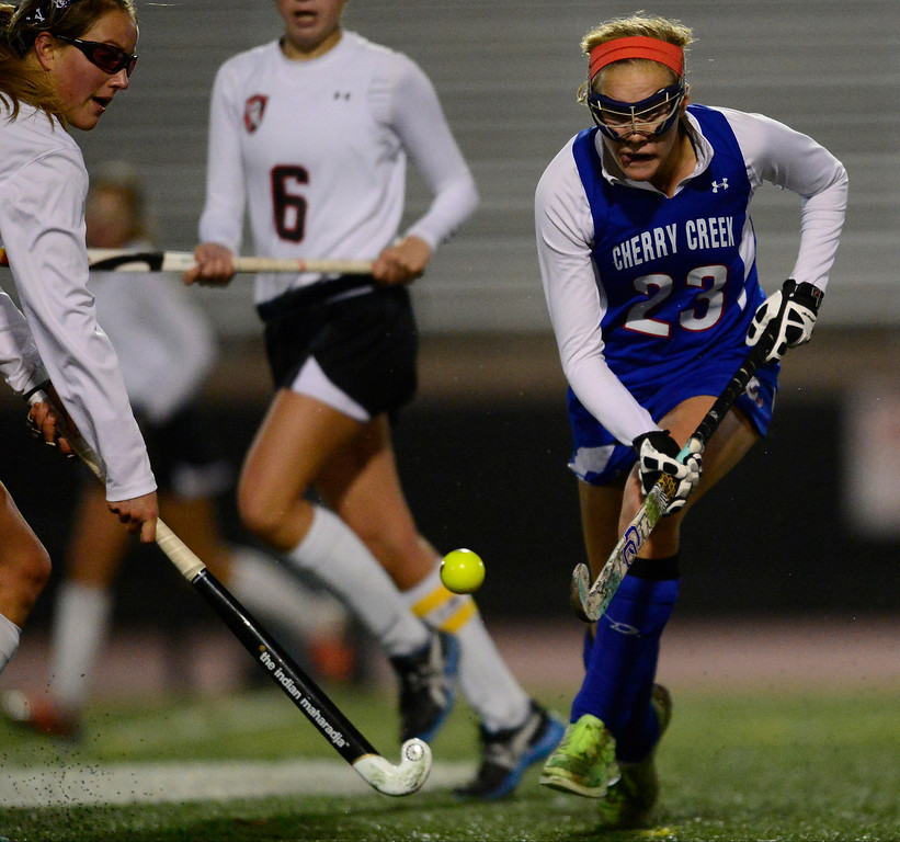 . Colorado Academy leads 1-0 as Cherry Creek\'s Blair Sisk controls the ball during the CHSAA state field hockey championship. Colorado Academy (17-0) capped a perfect season at All-City Stadium. (Photo by AAron Ontiveroz/The Denver Post)
