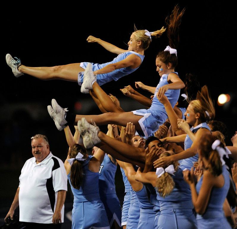 . DENVER, CO. - AUGUST 23: Ralston Valley cheerleaders performed for the crowd Friday night. The Ralston Valley High School football team beat Mullen 43-0 Friday night, August 23, 2013. Photo By Karl Gehring/The Denver Post