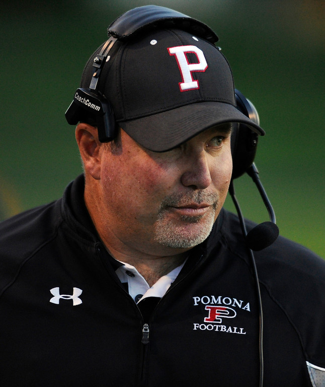 . ARVADA, CO. - SEPTEMBER 6: Jay Madden is the head coach of the Panthers. The Pomona High School football team hosted Cherry Creek Friday night, September 6, 2013. Photo By Karl Gehring/The Denver Post