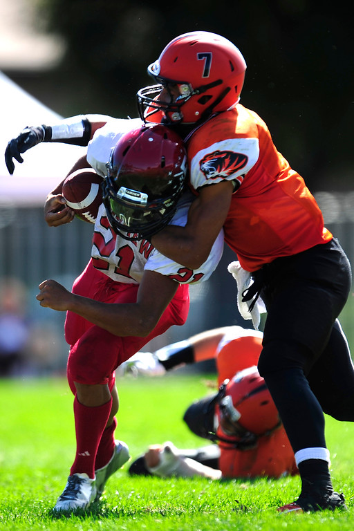 . Fairview running back Jason Harvey is taken down by Lakewood Tiger, Braden Smith.  (Photo By Erin Hull/The Denver Post)