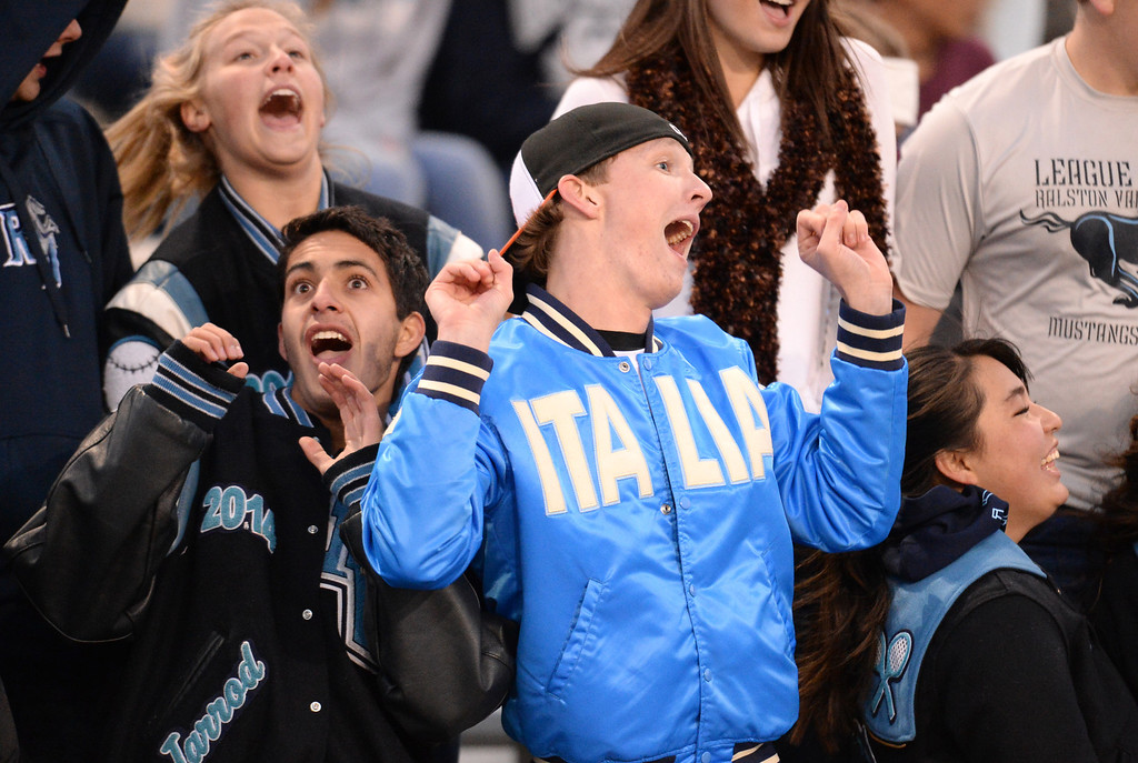 . ARVADA, CO - NOVEMBER 01 : Ralston Valley High School students cheer on their team during the game against Arapahoe High School at NAAC Stadium. Arvada, Colorado. November 01, 2013. Ralston Valley won 58-28. (Photo by Hyoung Chang/The Denver Post)