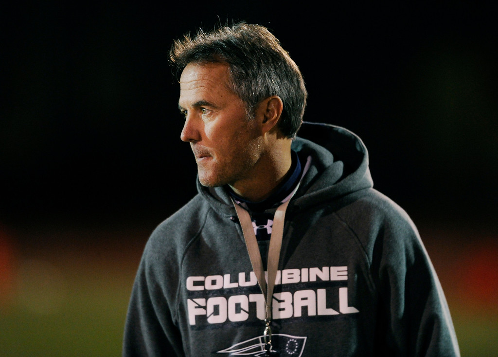 . LAKEWOOD, CO. - NOVEMBER 8: Coach Andy Lowry and his Columbine High School football team rolled over Grand Junction 41-6 in a playoff game at Jefferson County Stadium Friday night, November 8, 2013. Photo By Karl Gehring/The Denver Post