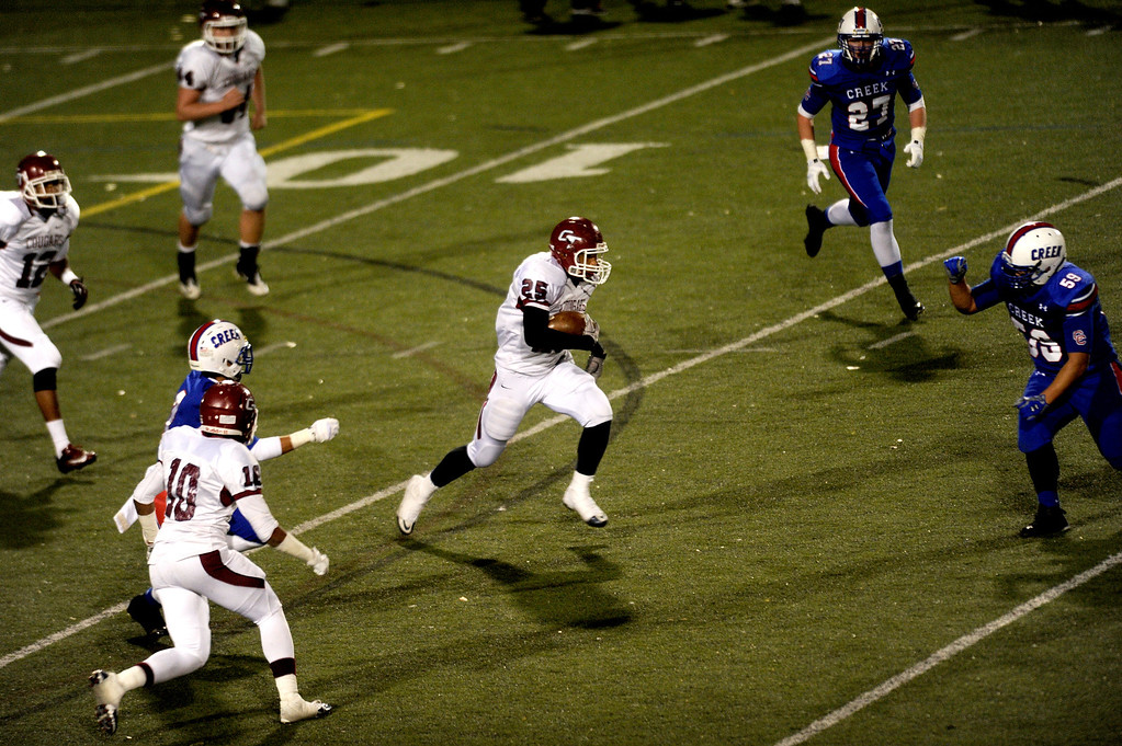 . GREENWOOD VILLAGE CO: Nov. 15, 2013  Cherokee Trail\'s Izaiah Lottie runs down field as they take on Cherry Creek on Nov. 15, 2013 at Stutler Bowl in Greenwood Village, CO.    (Photo By Erin Hull/The Denver Post)