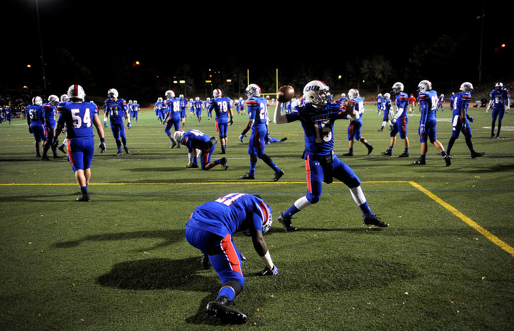 . GREENWOOD VILLAGE CO: Nov. 15, 2013  Cherry Creek players warm up before the second half as they take on Cherokee Trail.    (Photo By Erin Hull/The Denver Post)