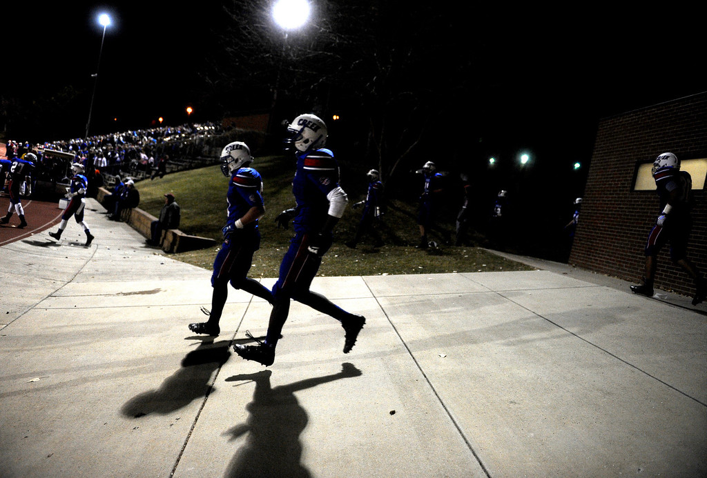 . GREENWOOD VILLAGE CO: Nov. 15, 2013  Cherry Creek players run on to the field to start the second half of play against Cherokee Trail on Nov. 15, 2013 at Stutler Bowl in Greenwood Village, CO.    (Photo By Erin Hull/The Denver Post)