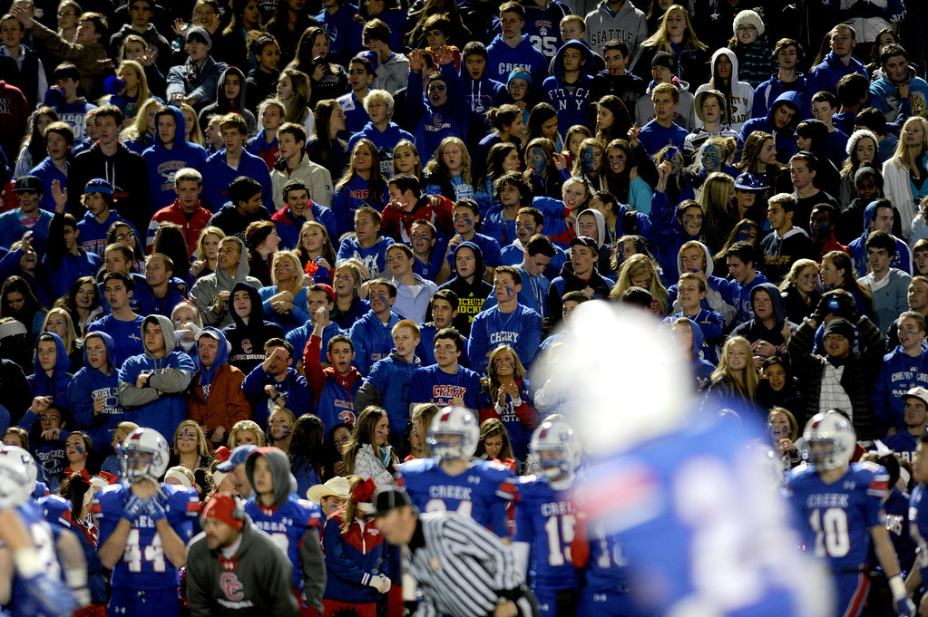 . GREENWOOD VILLAGE CO: Nov. 15, 2013  Students watch as Cherry Creek takes on Cherokee Trail on Nov. 15, 2013 at Stutler Bowl in Greenwood Village, CO.    (Photo By Erin Hull/The Denver Post)