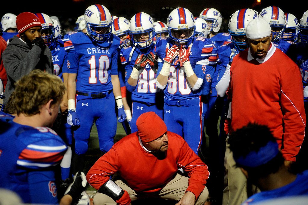. GREENWOOD VILLAGE CO: Nov. 15, 2013  Cherry Creek takes on Cherokee Trail on Nov. 15, 2013 at Stutler Bowl in Greenwood Village, CO.    (Photo By Erin Hull/The Denver Post)