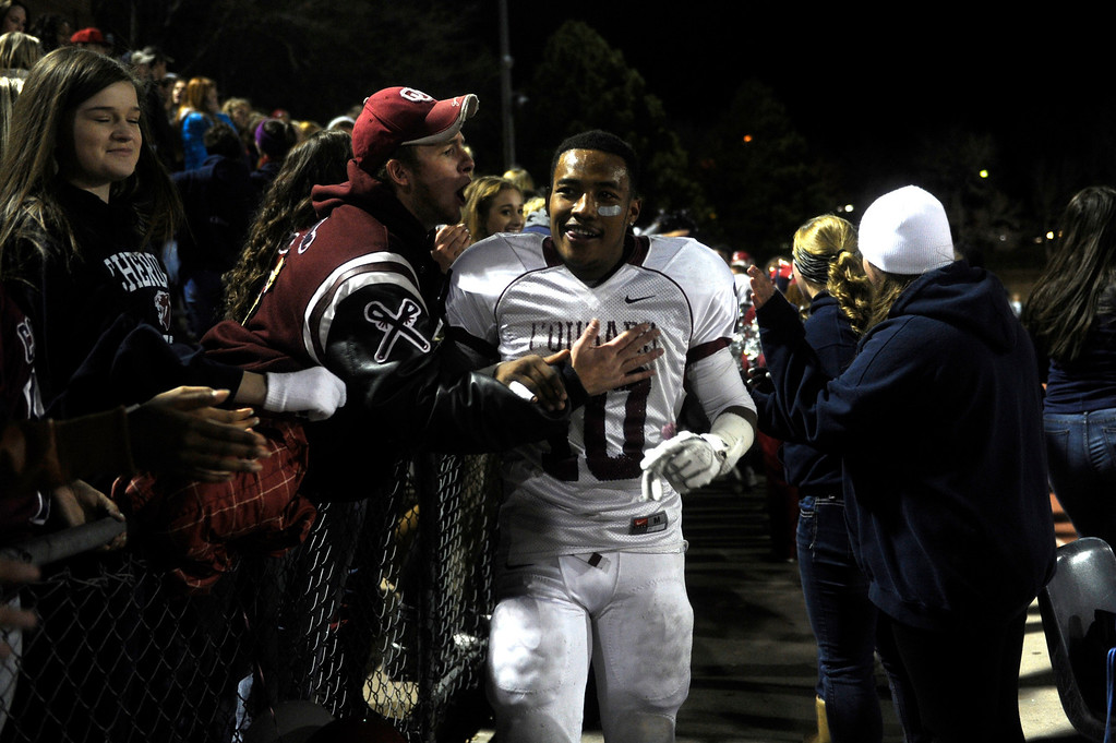 . GREENWOOD VILLAGE CO: Nov. 15, 2013  Cameron Currington of Cherokee Trail celebrates after his team defeated Cherry Creek 27-14 on Nov. 15, 2013 at Stutler Bowl in Greenwood Village, CO.   (Photo By Erin Hull/The Denver Post)