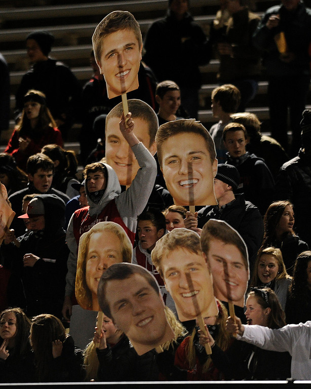 . BOULDER, CO. - NOVEMBER 15: Fairview fans cheered on the team with giant cutouts of the players. The Fairview High School football team hosted Pomona Friday night, November 15, 2003. Photo By Karl Gehring/The Denver Post