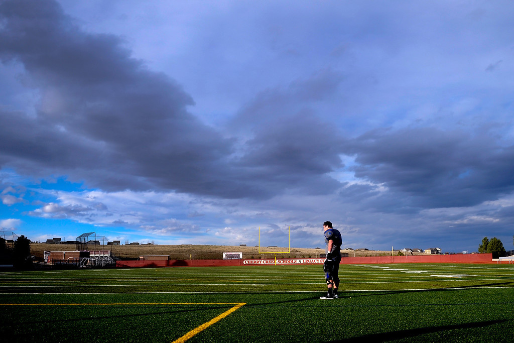 . AURORA CO: Nov. 16, 2013  Grandview player Gabe Cirivillo overlooks the field after his team\'s 9 - 13 loss to ThunderRidge on Saturday, Nov. 16, 2013 at Legacy Stadium in Aurora, CO.  (Photo By Erin Hull/The Denver Post)