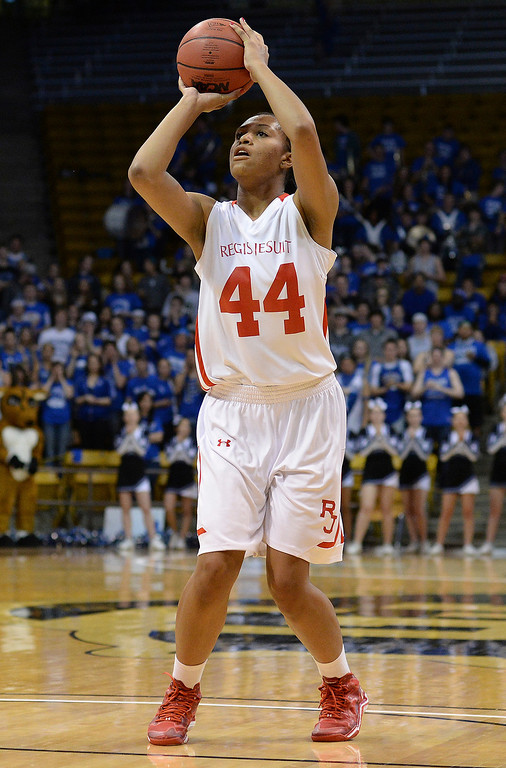 . Regis forward Jordan Molyneaux (44) found an open shot in the second half.  (Photo by Karl Gehring/The Denver Post)