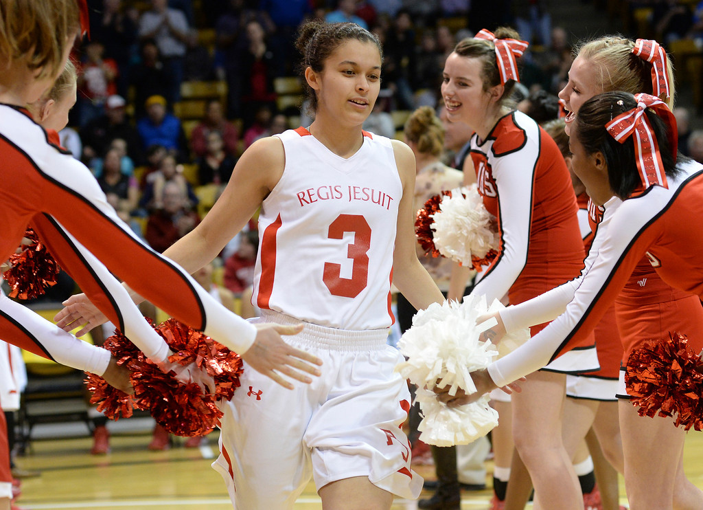 . Regis guard Jessica Lewis was introduced prior to tipoff. The Regis Jesuit High School girl\'s basketball team took on Poudre in a 5A semifinal game Thursday night, March 13, 2014 in Boulder, Colorado. (Photo by Karl Gehring/The Denver Post)