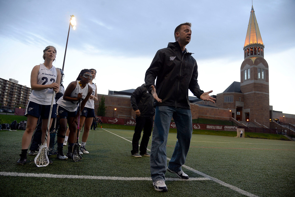 . head coach Sean Harmon of the Air Academy Kadets looks for a call against the Cherry Creek Bruins during Academy\'s 11-10 girls 5A championship game win. (Photo by AAron Ontiveroz/The Denver Post)