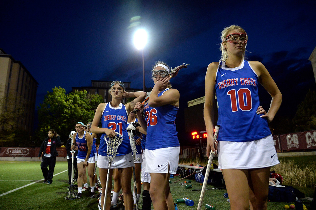 . Players from the Cherry Creek Bruins watch as their team tries to mount a late comeback against the Air Academy Kadets during Academy\'s 11-10 girls 5A championship game win. (Photo by AAron Ontiveroz/The Denver Post)