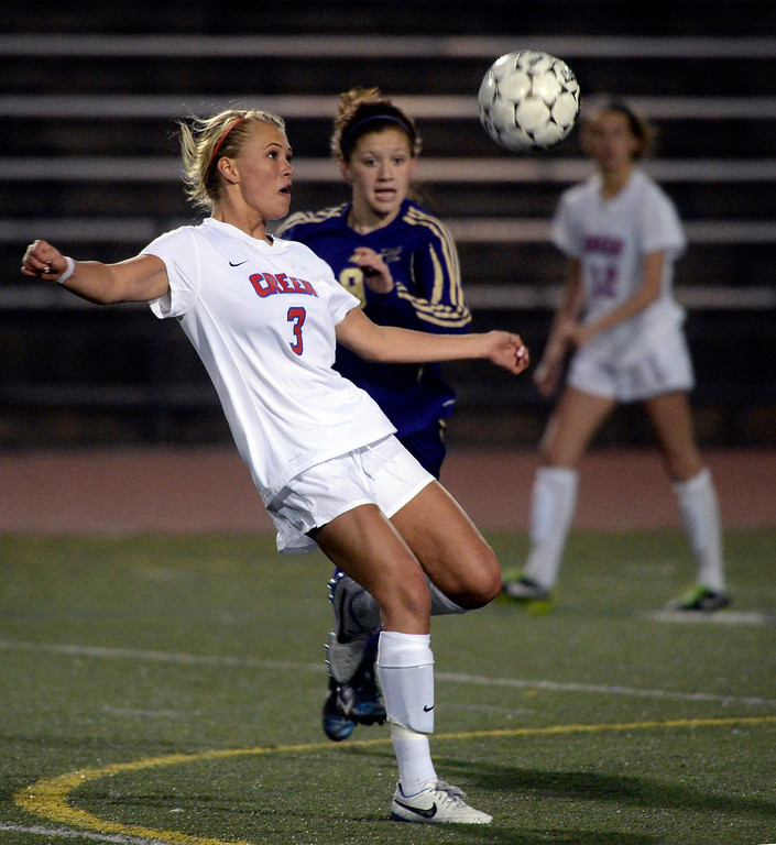 . GREENWOOD VILLAGE, CO - MARCH 25: Bruins\' junior midfielder Claire Schrier (3) advanced the ball late in the second half. The Cherry Creek High School girl\'s soccer team defeated Fort Collins 3-2 at the Stutler Bowl Tuesday night, March 25, 2014. (Photo by Karl Gehring/The Denver Post)