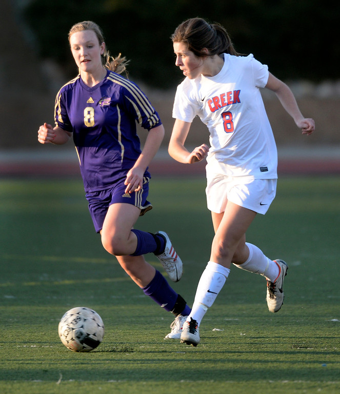 . GREENWOOD VILLAGE, CO - MARCH 25: Creek junior midfielder Annie Grillo (8) made a run past Fort Collins defender Jill Rankin (8) in the first half. The Cherry Creek High School girl\'s soccer team defeated Fort Collins 3-2 at the Stutler Bowl Tuesday night, March 25, 2014. (Photo by Karl Gehring/The Denver Post)