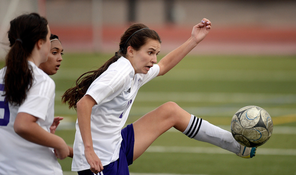. Littleton union midfielder Carli Murray (16) controlled the ball in the second half. The Littleton High School girl\'s soccer team played Castle View to a scoreless tie Tuesday afternoon, April 1 in Littleton.  (Photo by Karl Gehring/The Denver Post)