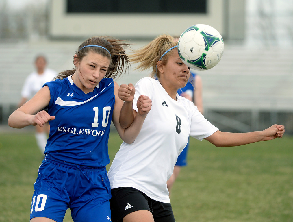 . THORNTON, CO - APRIL 10:  Englewood freshman midfielder Jena Korinek (10) vied for the ball with Skyview defender Lucero Rivas (8) in the first half. The Englewood High School girl\'s soccer team defeated Skyview 1-0 in a 4A matchup Thursday afternoon, April 10, 2014. (Photo by Karl Gehring/The Denver Post)