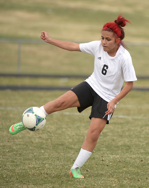 . THORNTON, CO - APRIL 10:  Skyview defender Laura Rivas (6) cleared the ball in the first half. The Englewood High School girl\'s soccer team defeated Skyview 1-0 in a 4A matchup Thursday afternoon, April 10, 2014. (Photo by Karl Gehring/The Denver Post)