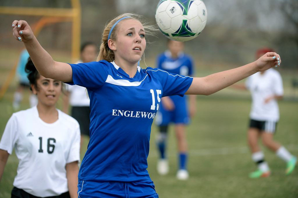 . THORNTON, CO - APRIL 10:  Englewood freshman midfielder Molly Ostrowski (15) controlled the ball in the first half. The Englewood High School girl\'s soccer team defeated Skyview 1-0 in a 4A matchup Thursday afternoon, April 10, 2014. (Photo by Karl Gehring/The Denver Post)