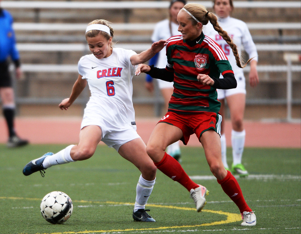 . Mallory Plachy of Cherry Creek High School (6), left, controls the ball against Leah Stoffel of Smoky Hill during the first half. (Photo by Hyoung Chang/The Denver Post)