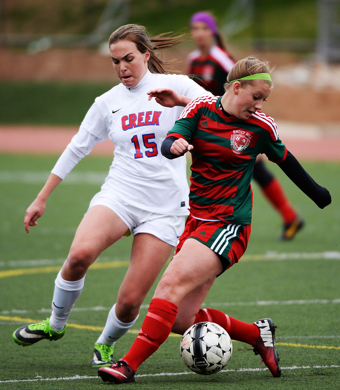 . Sam Howshar of Smoky Hill High School (8), front, controls the ball against Allison Tuttle of Cherry Creek High School (15) during the first half. (Photo by Hyoung Chang/The Denver Post)