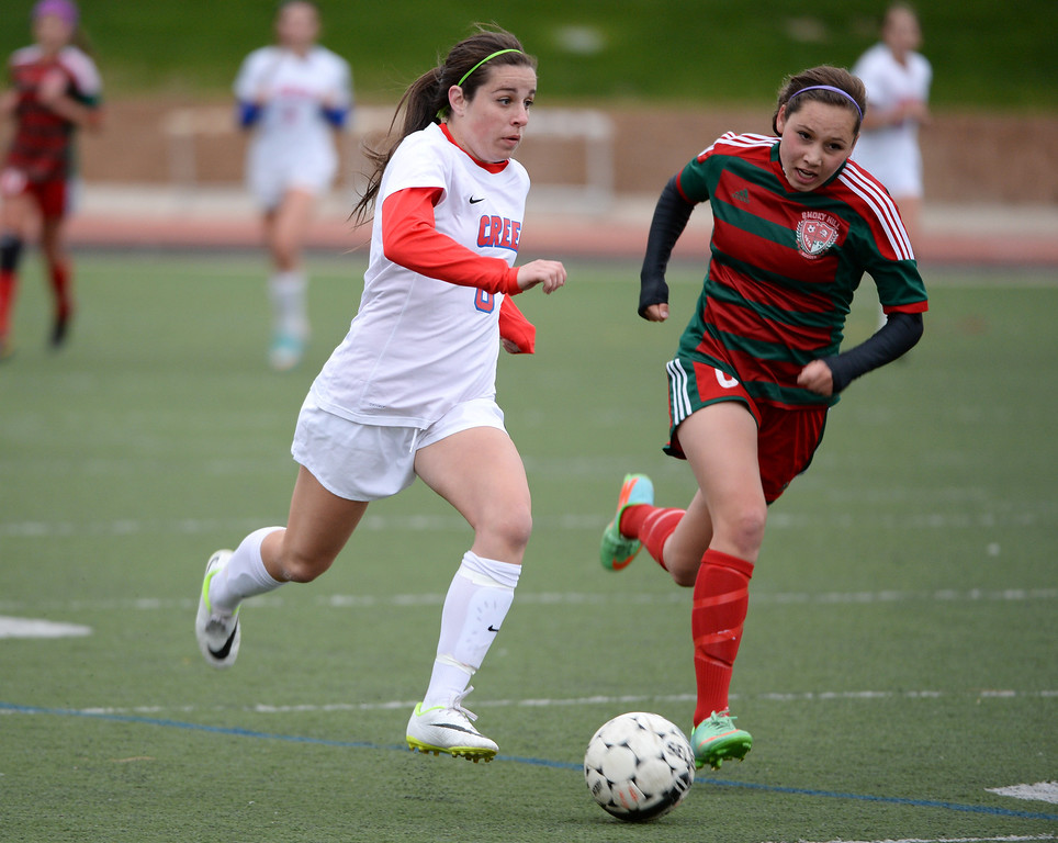 . Annie Grillo of Cherry Creek High School (8), left, controls the ball against Mikayla Hernandez of Smoky Hill High School (6) in the first half at Stutler Bowl Stadium in Greenwood Village, Colorado, on Tuesday, April 29, 2014.  (Photo by Hyoung Chang/The Denver Post)