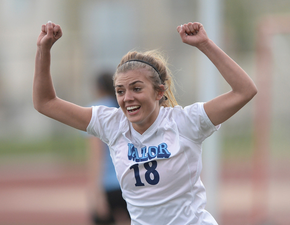 . Eagles\' midfielder Gabbi Fleischli (18) reacted after she made the first goal of the night in the first half. The Valor Christian High School girl\'s soccer team defeated Pueblo West 4-1 Wednesday night, May 7, 2014 in the first round of the playoffs. (Photo by Karl Gehring/The Denver Post)