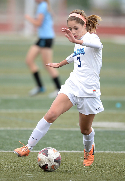 . Valor junior defender Allison Trizna brought the ball up the field in the first half. The Valor Christian High School girl\'s soccer team defeated Pueblo West 4-1 Wednesday night, May 7, 2014 in the first round of the playoffs. (Photo by Karl Gehring/The Denver Post)