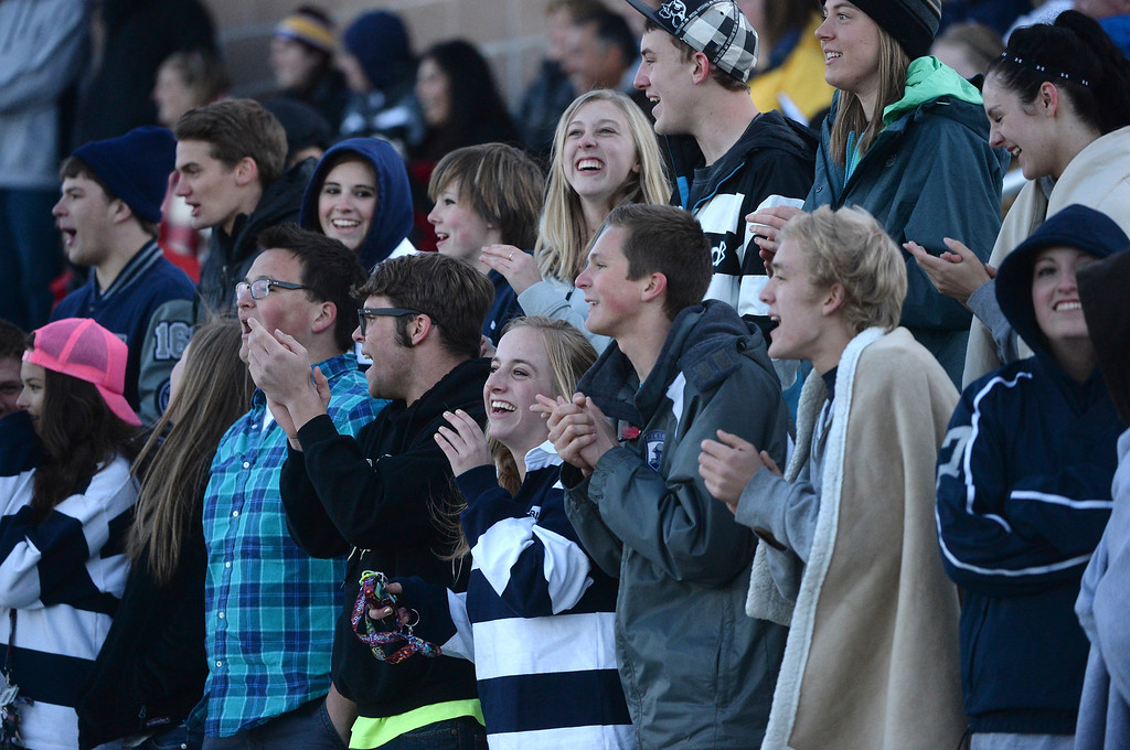 . Columbine students cheered the team to a victory Tuesday night. The Columbine High School girl\'s soccer team defeated Doherty 3-1 in a 5A quarterfinal game Tuesday night, May 13, 2014. (Photo by Karl Gehring/The Denver Post)