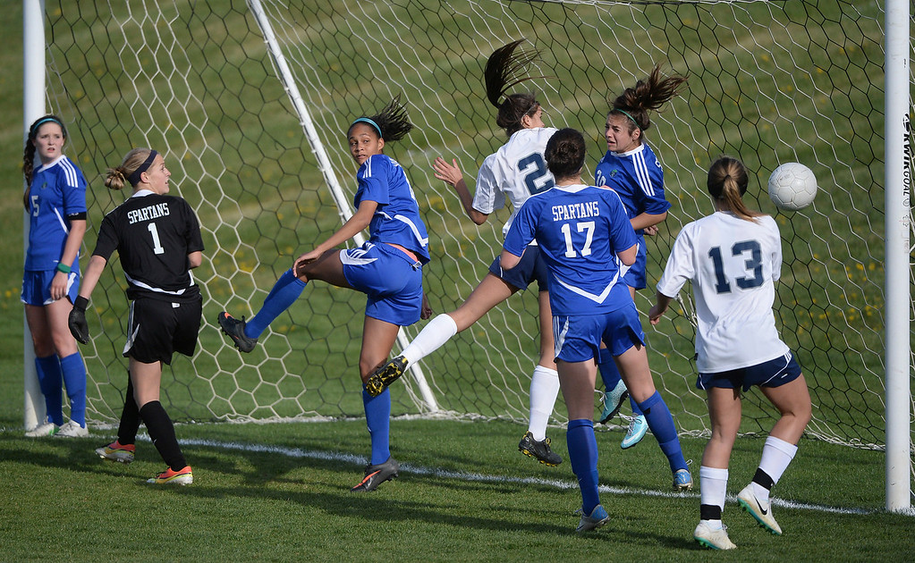 . The Rebels missed an opportunity to score on a first half corner kick that sailed past the mouth of the goal. The Columbine High School girl\'s soccer team defeated Doherty 3-1 in a 5A quarterfinal game Tuesday night, May 13, 2014. (Photo by Karl Gehring/The Denver Post)