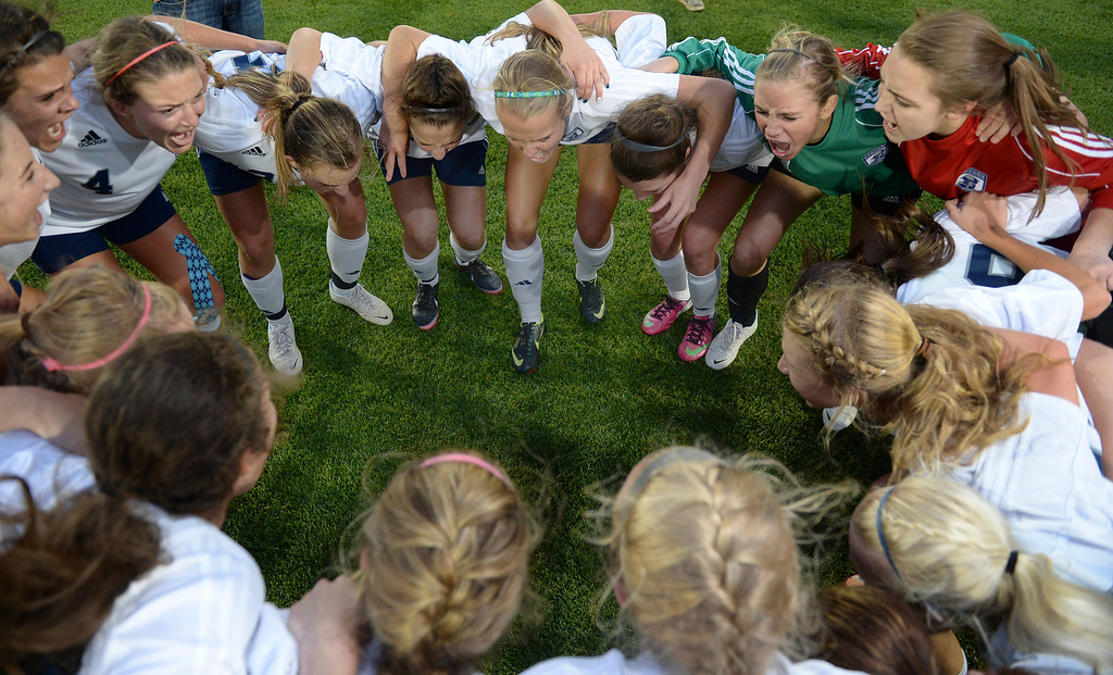 . The Rebels celebrated after the win. The Columbine High School girl\'s soccer team defeated Ralston Valley 3-1 in the 5A championship game Thursday night, May 22, 2014.  (Photo by Karl Gehring/The Denver Post)