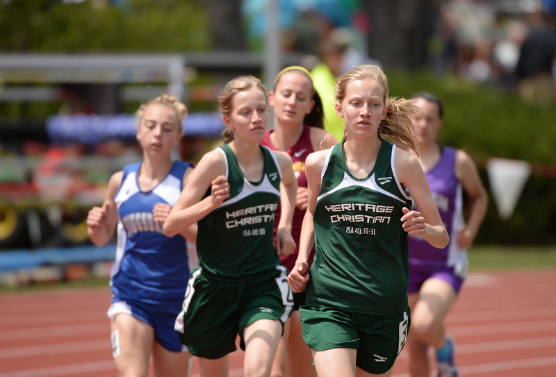 . Runners are in 1A girls 1600m run during Colorado high school state track and field meet at Jeffco Stadium. Lakewood, Colorado. May 17. 2014. (Photo by Hyoung Chang/The Denver Post)