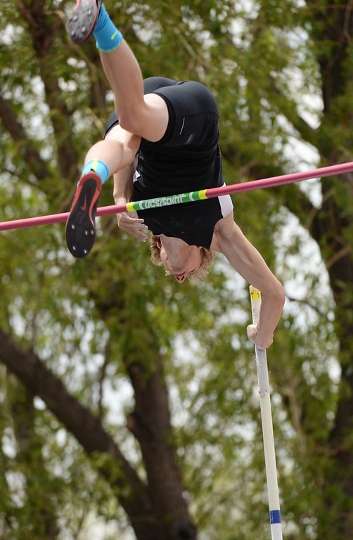 . Nick Meihaus of Pueblo South High School is competing Pole Vault during Colorado high school state track and field meet at Jeffco Stadium. Lakewood, Colorado. May 17. 2014. (Photo by Hyoung Chang/The Denver Post)