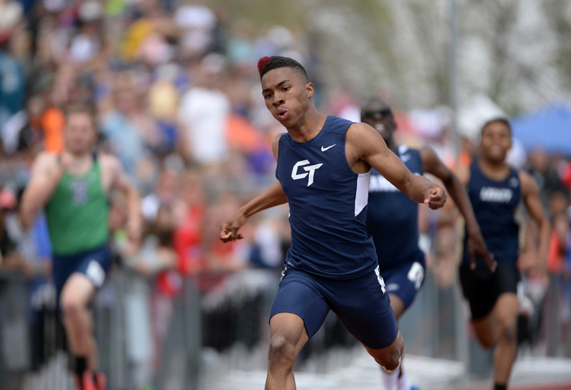 . Brandon Singleton of Cherokee Trail High School won 5A boys 400m dash during Colorado high school state track and field meet at Jeffco Stadium. Lakewood, Colorado. May 17. 2014. (Photo by Hyoung Chang/The Denver Post)