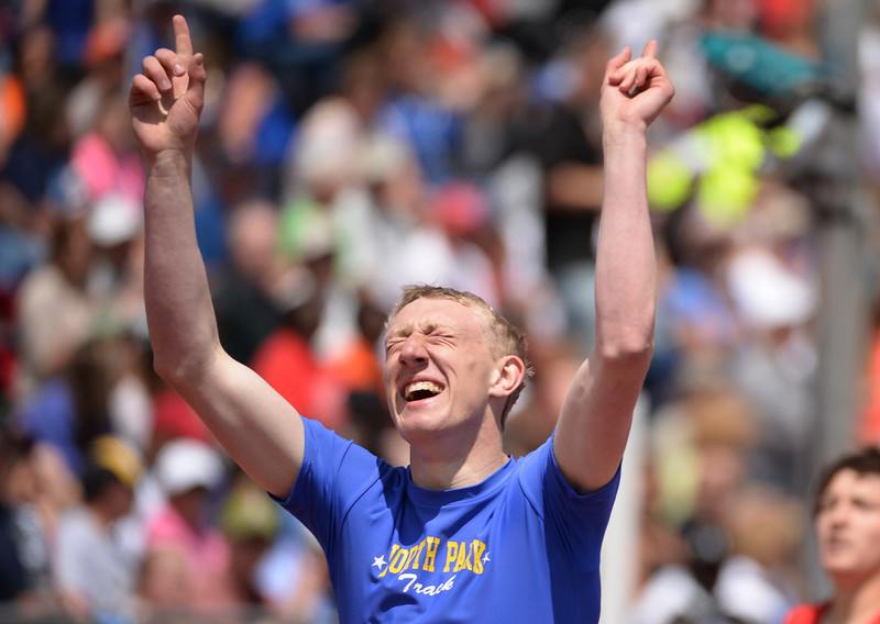 . Clay Russell of North Park High School celebrates winning of 1A boys 400m dash during Colorado High school  state track and field meet at Jeffco Stadium. Lakewood, Colorado. May 17. 2014. (Photo by Hyoung Chang/The Denver Post)