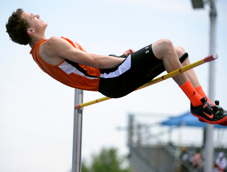 . Caleb Preston from Ouray High School competes in the 2A Boys High Jump event. The Colorado State High School Track and Field meet takes place at Jeffco Stadium in Lakewood on Saturday, May 17, 2014. (Kathryn Scott Osler, The Denver Post)