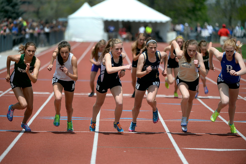 . Competitors take off in the Girls 4A 1600 Meter Run. The Colorado State High School Track and Field meet takes place at Jeffco Stadium in Lakewood on Saturday, May 17, 2014. (Kathryn Scott Osler, The Denver Post)