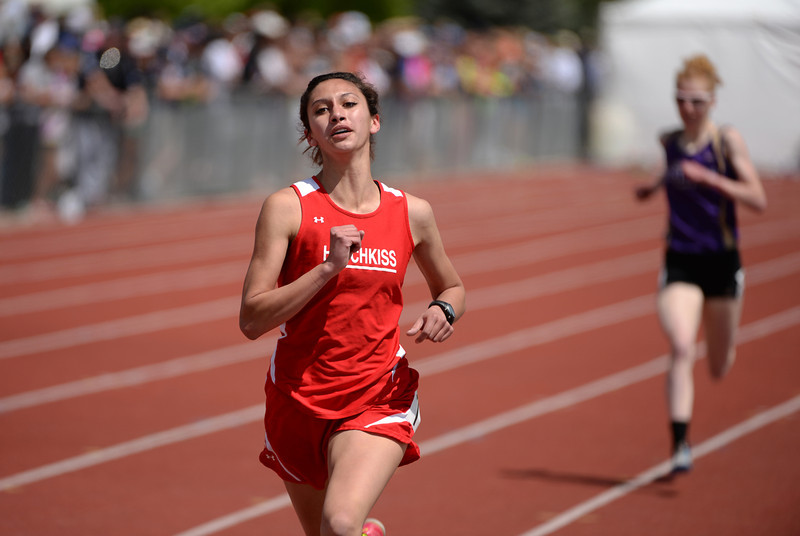 . Jennifer Celis of Hotchkiss High School won 2A girls 1600m run of Colorado high school state track and field meet at Jeffco Stadium. Lakewood, Colorado. May 17. 2014. (Photo by Hyoung Chang/The Denver Post)