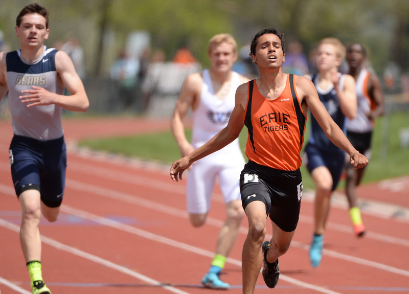 . Kevin McClanahan of Erie High School, front, sets record in the 4A boys 400 meter dash during Colorado high school state track and field meet at Jeffco Stadium. Lakewood, Colorado. May 17. 2014. (Photo by Hyoung Chang/The Denver Post)
