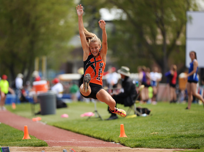 . Kylie Chavez of Sterling High School is competing 3A long jump during Colorado high school state track and field meet at Jeffco Stadium. Lakewood, Colorado. May 17. 2014. (Photo by Hyoung Chang/The Denver Post)