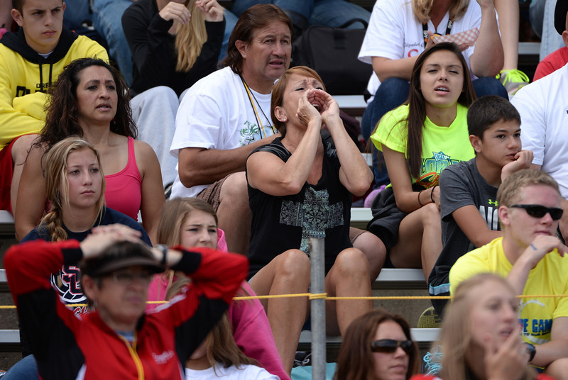 . People cheer the athletes during Colorado high school state track and field meet at Jeffco Stadium. Lakewood, Colorado. May 17. 2014. (Photo by Hyoung Chang/The Denver Post)
