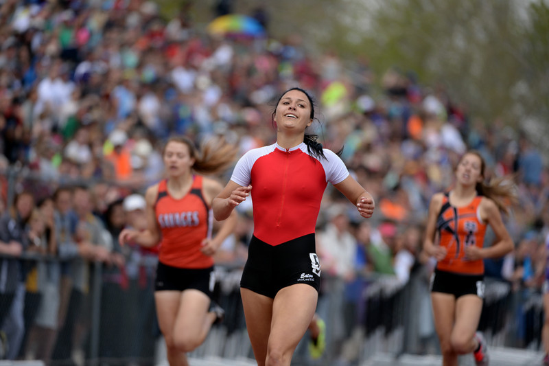 . Brittany Pierce of Eaton High School won 3A girls 400m dash during Colorado high school state track and field meet at Jeffco Stadium. Lakewood, Colorado. May 17. 2014. (Photo by Hyoung Chang/The Denver Post)